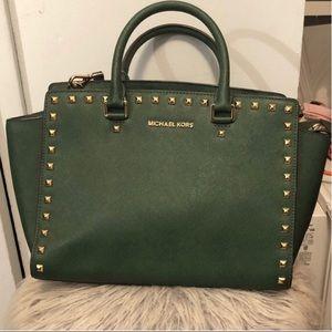Michael kors green satchel
